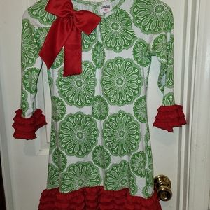 Counting Daisies Christmas dress w/satin bow